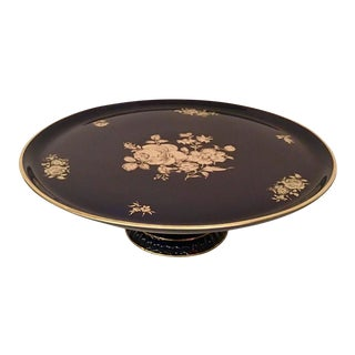 Cobalt & 22-Karat Gold Footed Rose Platter