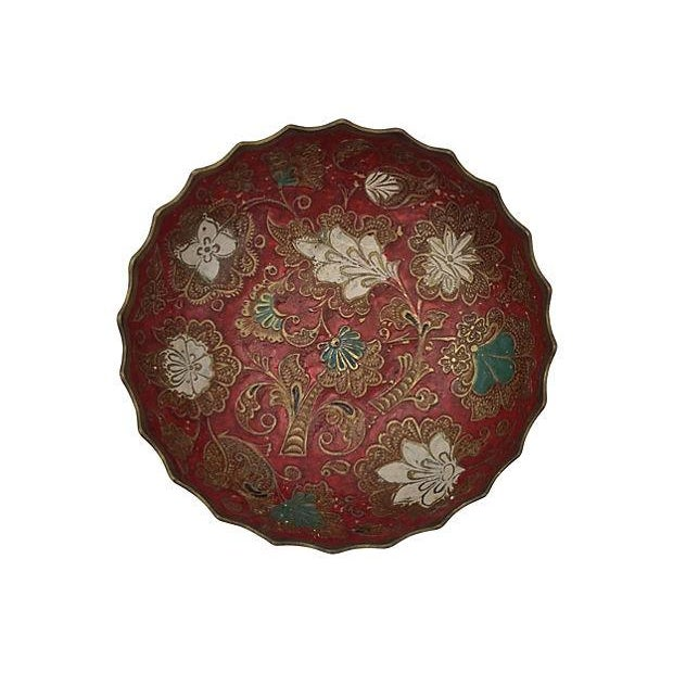 Indian Brass Polychrome Bowls - A Pair - Image 4 of 7