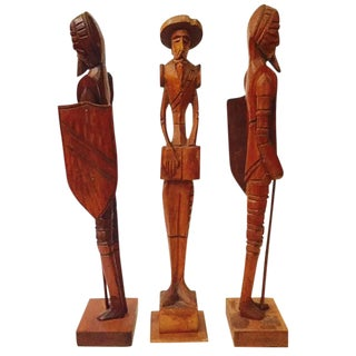Mid Century Wood Carved Don Quixote Statues - Set of 3