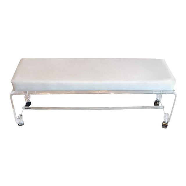 Lucite White Leather Waterfall End of Bed Bench Seat - Image 1 of 10