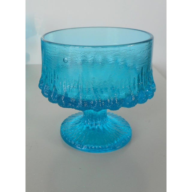Vintage Turquoise Blue Textured Glass Sherbets - Set of 8 - Image 7 of 7
