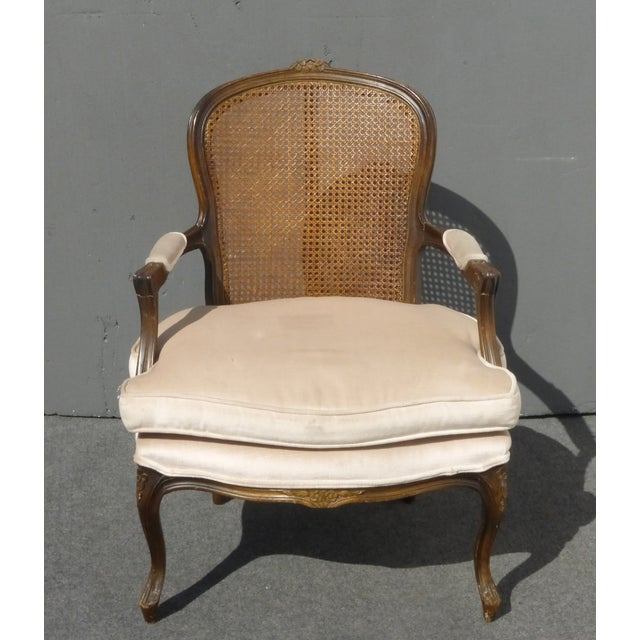 French Provincial Off White Cane Back Arm Chair Chairish