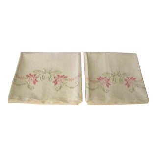 1950's Hand Embroidered Pillow Cases - A Pair