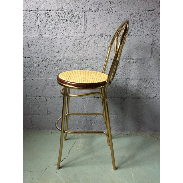 Gold Chrome Bar Stools In The Style of Michael Thonet- Set of 3 - Image 4 of 11