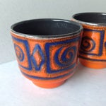 Image of Mid-Century Orange & Blue Planters - A Pair