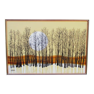 Sunset and Trees Letterman Painting Mid Century Modern