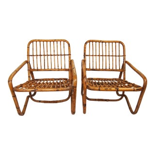 Vintage Rattan Club Chairs- A Pair