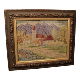 Antique Needlepoint Textile Art Framed Behind Glass