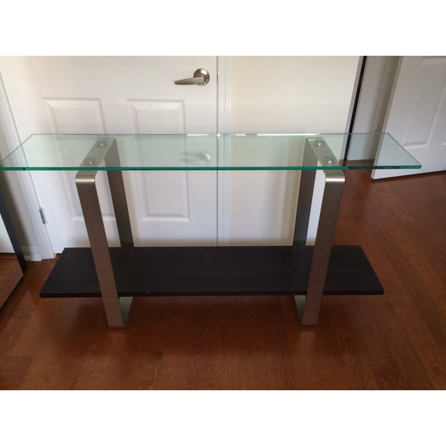 Image of Espresso-Stained Oak Finish & Glass Console Table
