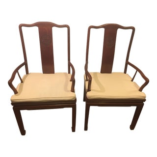Vintage Chinese Rosewood Armchairs - A Pair