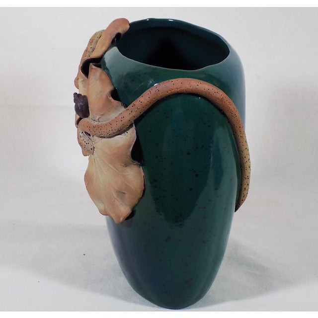 Studio Art Pottery Vase Green Blue Applied Water Lily Hand Thrown - Image 3 of 6