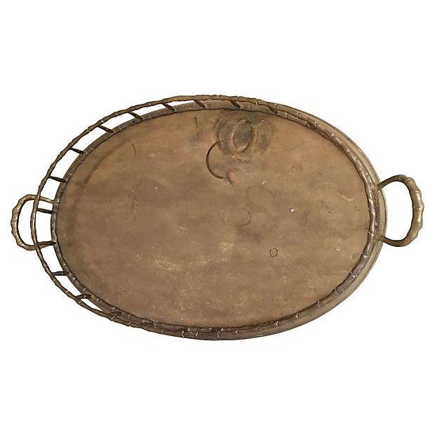 Vintage Faux-Bamboo Brass Gallery Handled Tray - Image 2 of 5