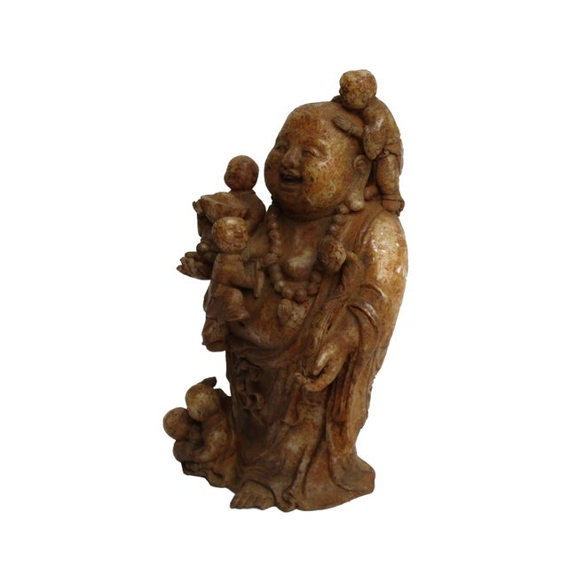 Image of Oriental Stone Carved Happy Buddha W/Kids Statue