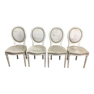 Antique Louis XVI White Upholstery Dining Chairs - Set of 4
