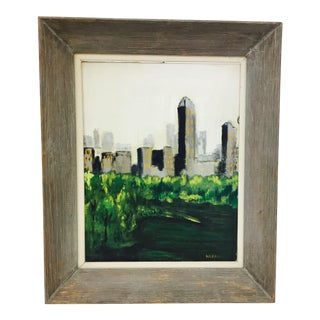 Framed & Signed City Scape Oil on Canvas Painting