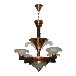 Monumental French Art Deco Chandelier by Ezan Glass and Copper, Circa 1930s