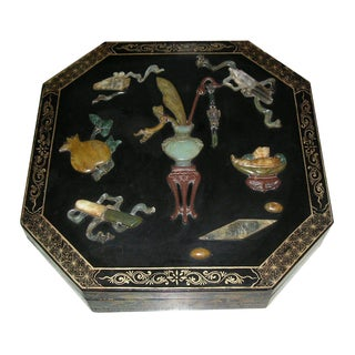 Antique Chinese Black Lacquer Hexagonal Box