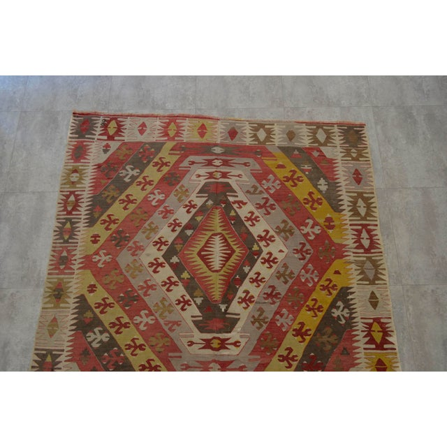 Antique Large Rug: Antique Turkish Kilim Hand Woven Large Runner Rug