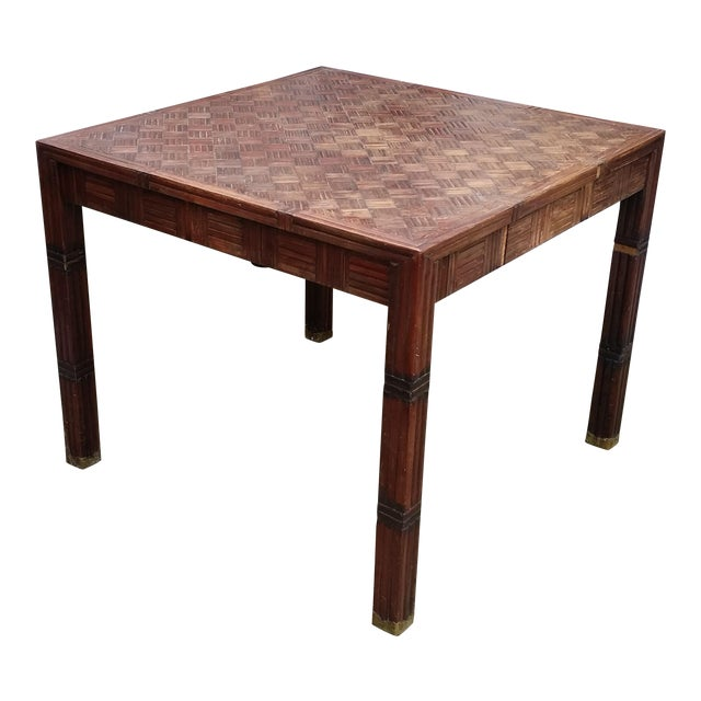 Tessellated Bamboo & Wood Dining Table - Image 1 of 6