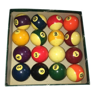 Vintage Bakelite Billiard Balls Box - Set of 16
