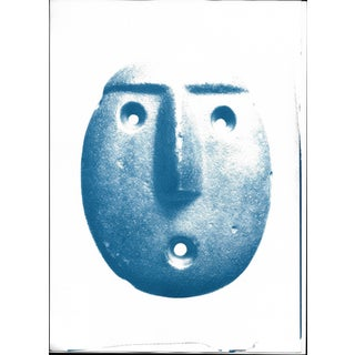 Andean Head Sculpture Emoji Cyanotype Print