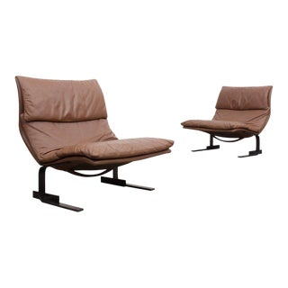 Pair of Saporiti 'Onda' Wave Lounge Chairs by Giovanni Offeredi