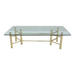 Sold Brass Tube Glass Top Rectangular Coffee Table