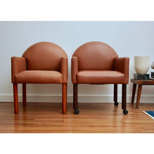 Postmodern Leather Chairs, Set of 2 - Image 4 of 11