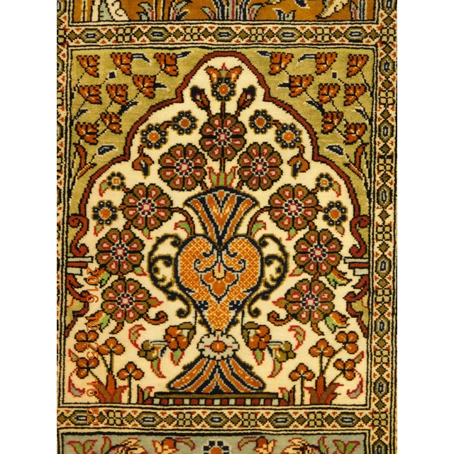 "Hand Knotted Pure Silk Persian Qom Rug - 4'10"" x 4'10"" - Image 5 of 9"