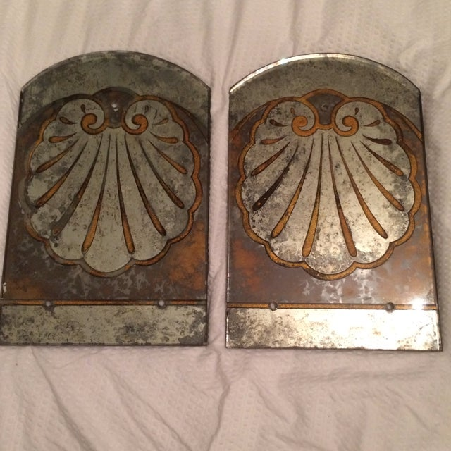 Antique Mirror Sconce Panels - Pair - Image 2 of 8
