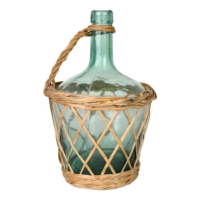 Image of Vintage Italian Wicker Wrapped Wine Carafe