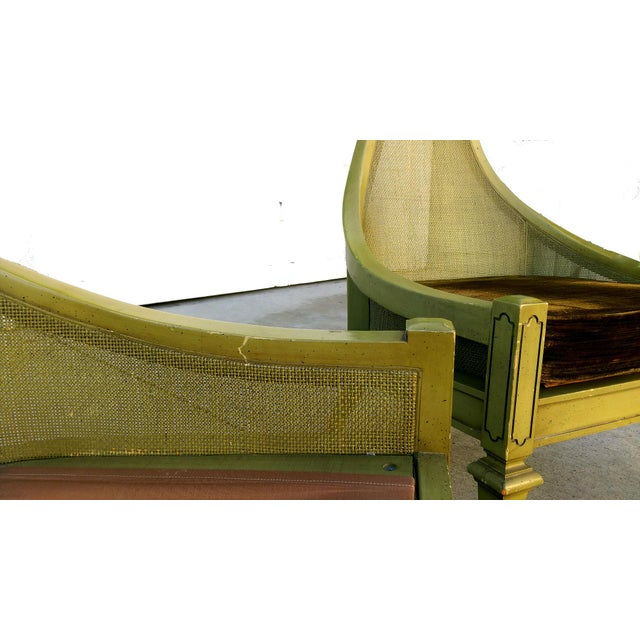 Mid-Century Green Cane Slipper Chairs - A Pair - Image 9 of 10