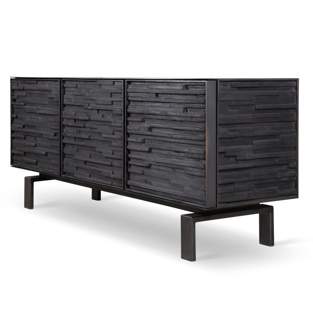 """Image of 72"""" Charred Wood Cabinet with 3 Doors"""