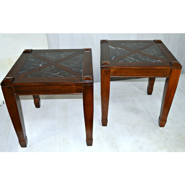 vintage solid wood side tables w marble top pair chairish. Black Bedroom Furniture Sets. Home Design Ideas