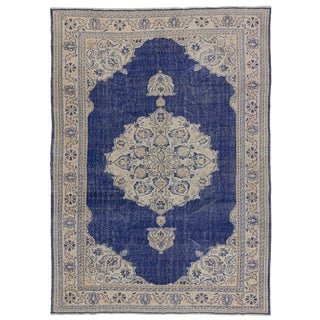 Vintage Unique Navy Blue Turkish Oushak Rug - 7′5″ × 10′3″