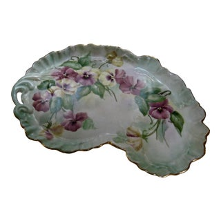 Vintage Hand Painted Pansy Decorative Dresser Tray