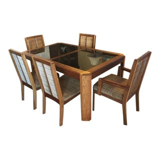 Vintage Oak Glass Top Dining Suite