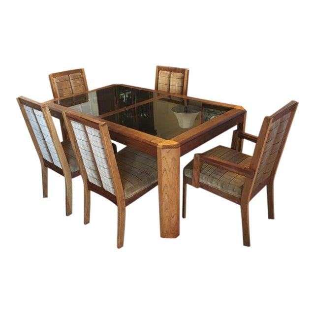Vintage Oak Glass Top Dining Suite - Image 1 of 11
