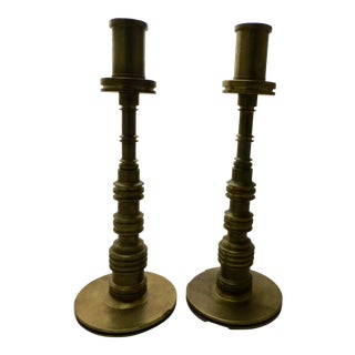 19th Century Reproduction Brass Candlesticks - Pair