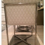 Image of Designer Chrome and White Dining Chairs - 6