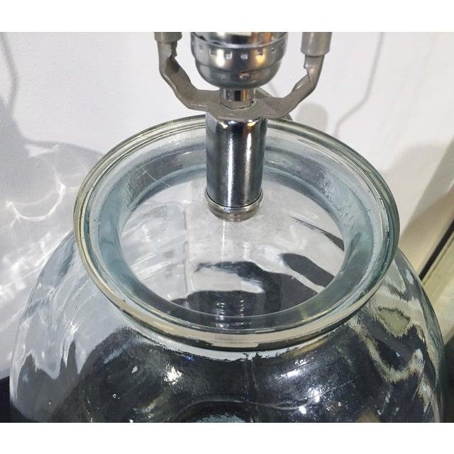 Image of Mid-Century Spanish Clear Glass Lamps - A Pair
