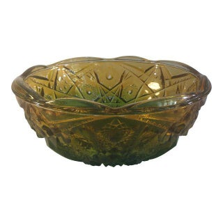 Ombre Green & Amber Glass Bowl