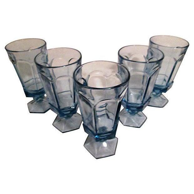 Vintage Powder Blue Footed Iced Tea Glasses - S/5 - Image 2 of 4