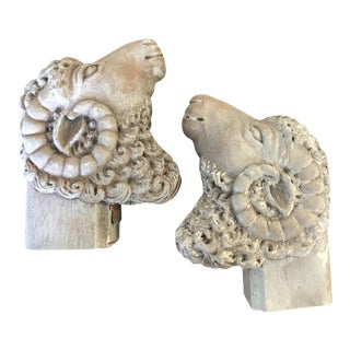 Carved Wooden Ram's Heads Bookends - Pair