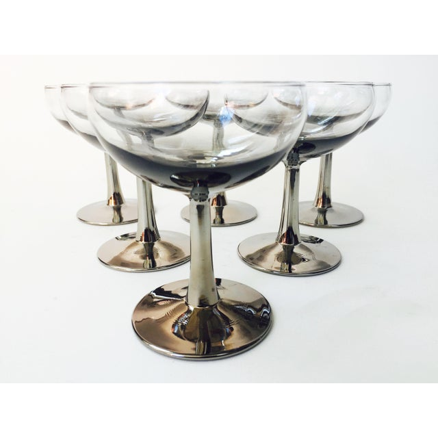 Mid Century Silver Ombre Coupe Cocktail Glasses - Set of 6 - Image 4 of 5