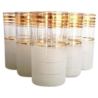 Gold Striped Mid Century Tumblers - Set of 6