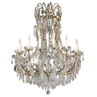 French Fifteen-Light Crystal Louis XV Style Chandelier from Early 20th Century