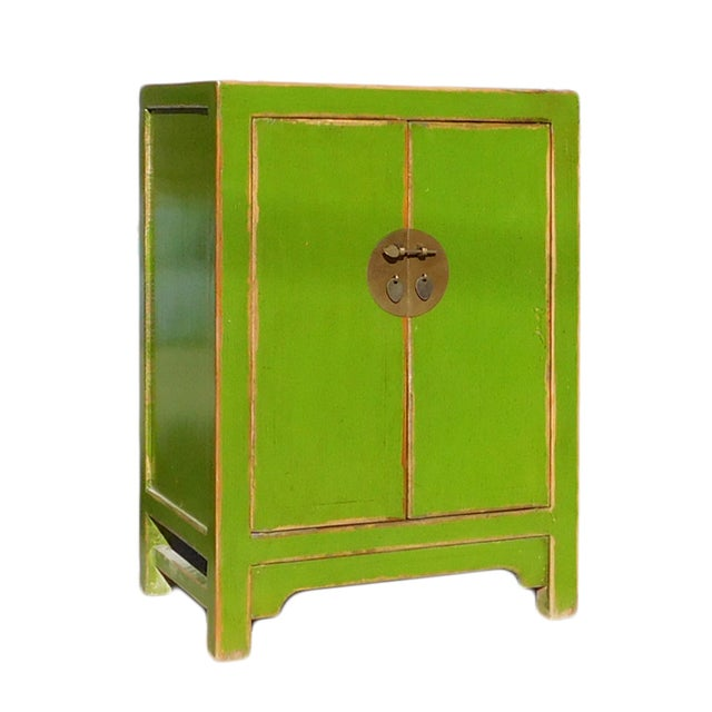 Image of Chinese Rustic Lime Green End Table Nightstand