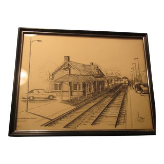 Limited Signed Vintage 1975 Chicago and Northwestern Railway Station Drawing