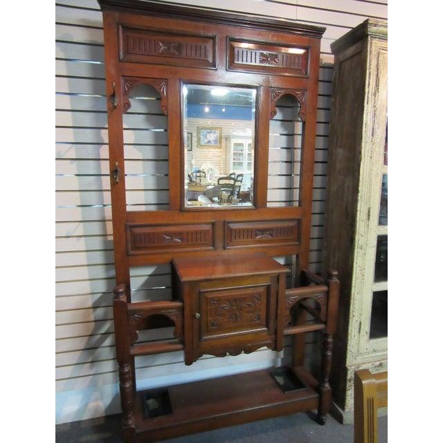Antique Victorian 1800s Walnut Hall Mirror Stand - Image 11 of 11